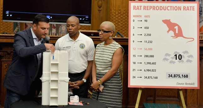 President of Rat Trap Inc., Anthony Giaquinto (L) joins Brooklyn Borough President Eric. L. Adams  (C) as he announces the results of a pilot program aimed at curbing the rat population around Brooklyn (AFP Photo)