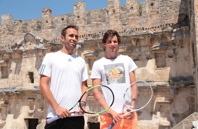 The world's eighth ranked tennis player Austrian Dominic Thiem and Turkish player Marsel İlhan played an exhibition game in a mini court set up on the historical Aspendos Ancient Theater in Antalya as part of the Antalya ATP tournament.