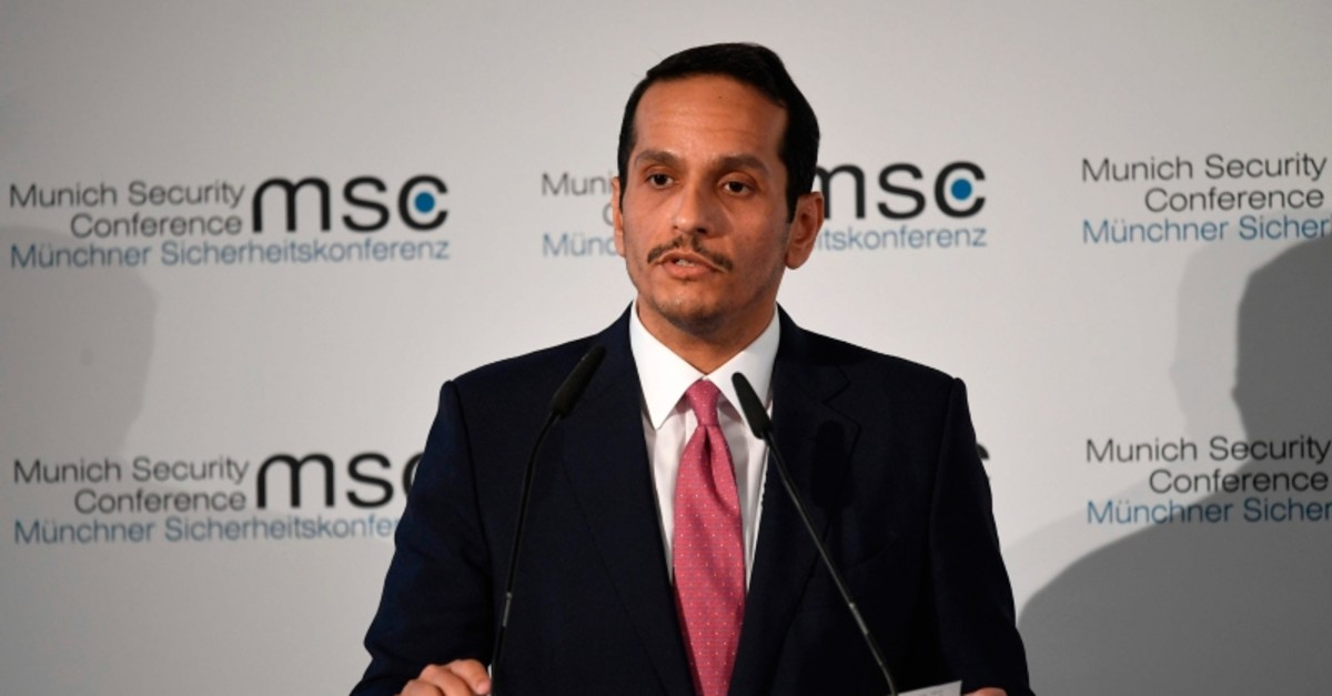 Qatar's Foreign Minister Sheikh Mohammed bin Abdulrahman Al Thani speaks during the 56th Munich Security Conference (MSC) in Munich, southern Germany, on February 15, 2020. (AFP Photo)