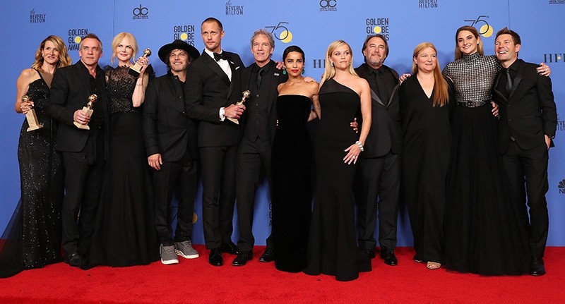 The cast and producers of 'Big Little Lies' pose with the award for Limited Series or Motion Picture Made for Television in the press room during the 75th annual Golden Globe Awards ceremony (EPA Photo)