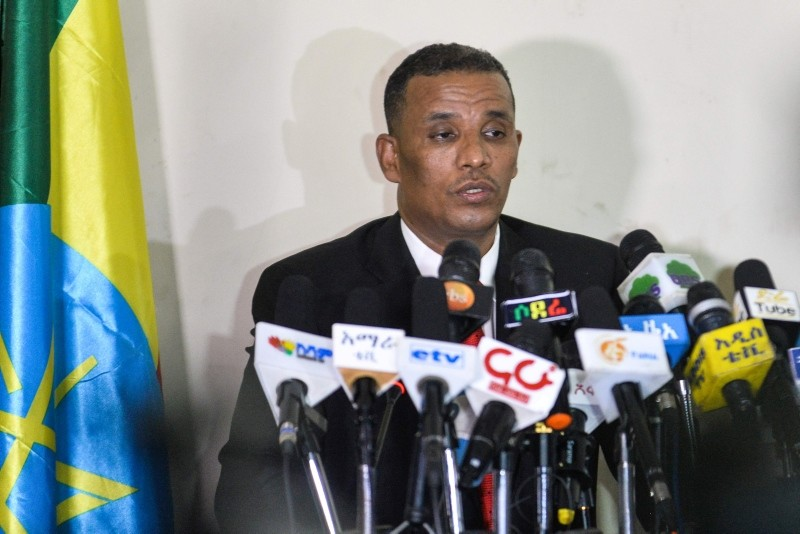 Ethiopiau2019s Attorney General Birhanu Tsegaye speaks about the corruption and human rights violation reports in the country following the detention of 63 military and intelligence officers in Addis Ababa on Nov. 12, 2018. (AFP Photo)