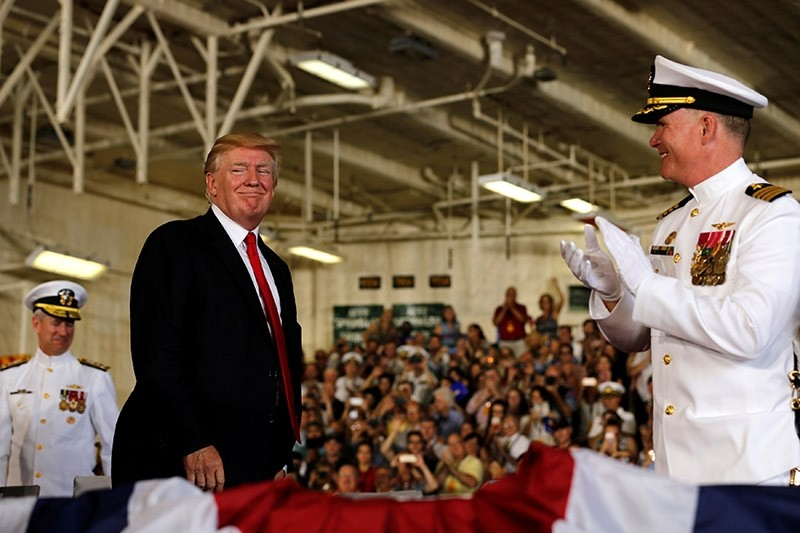 U.S. President Donald Trump participates in the commissioning ceremony of the aircraft carrier USS Gerald R. Ford at Naval Station Norfolk in Norfolk, Virginia, U.S. July 22, 2017. (Reuters Photo)