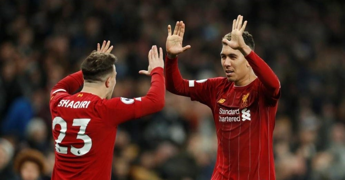 Firmino celebrates after the match with Shaqiri in London, Jan. 11, 2020. (Reuters Photo)
