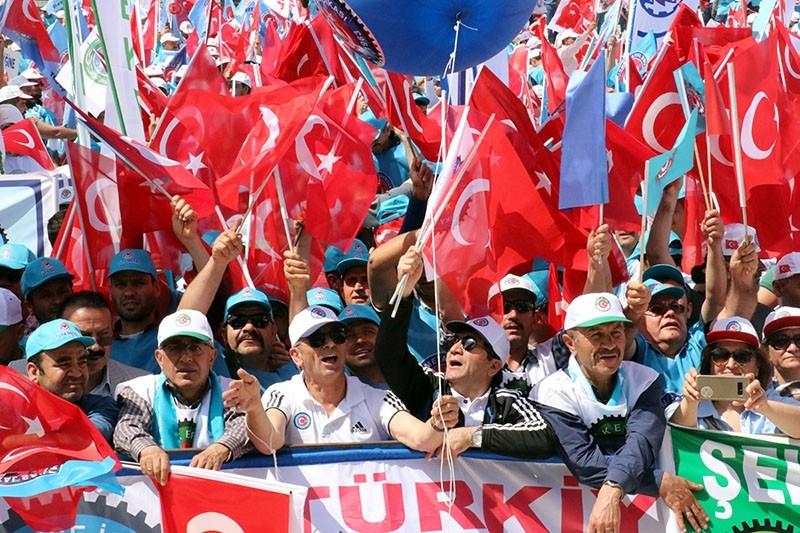 Confederation of Turkish Trade Unions (Tu00fcrk-u0130u015f) Labor Day celebrations in Hatay, southern Turkey, May 1, 2018. (AA Photo)