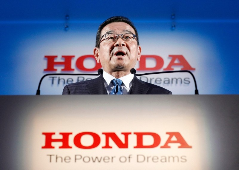 Honda's President and CEO Takahiro Hachigo speaks during a press conference in Tokyo Tuesday, Feb. 19, 2019. (AP Photo)