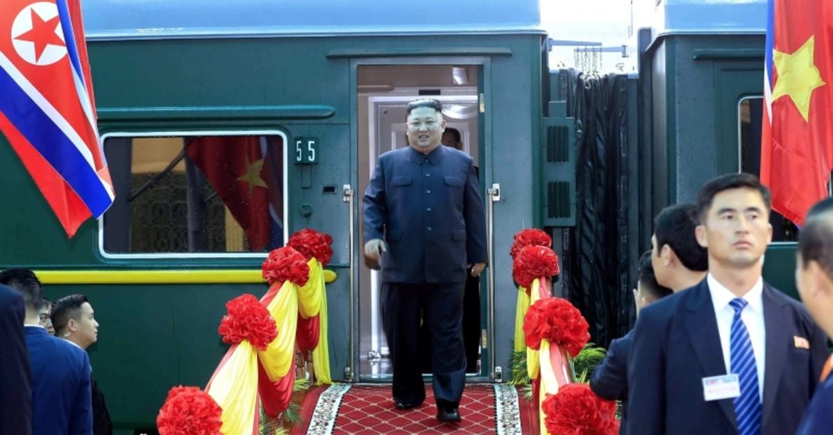 North Korean leader Kim Jong Un arrives in Vietnam's Dong Dang station on the border with China, some 170 kilometers northeast of capital Hanoi, on Feb. 26, 2019. (VNA Photo / EPA via AA)
