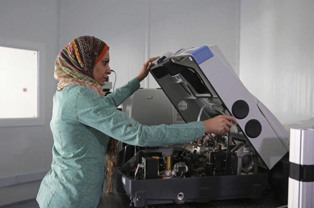 Egyptian physicist Gihan Kamel, 41, works in her lab at the SESAME research center.
