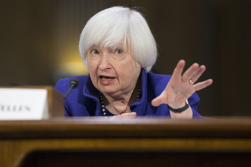 US Federal Reserve Chair Janet Yellen testifies before the Senate Banking, Housing and Urban Affairs Committee hearing. (EPA Photo)