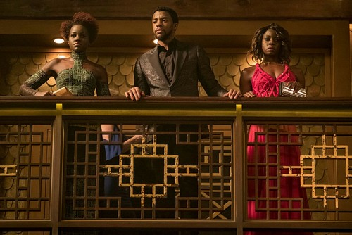 This image released by Disney shows Lupita Nyong'o, from left, Chadwick Boseman and Danai Gurira in a scene from Marvel Studios'