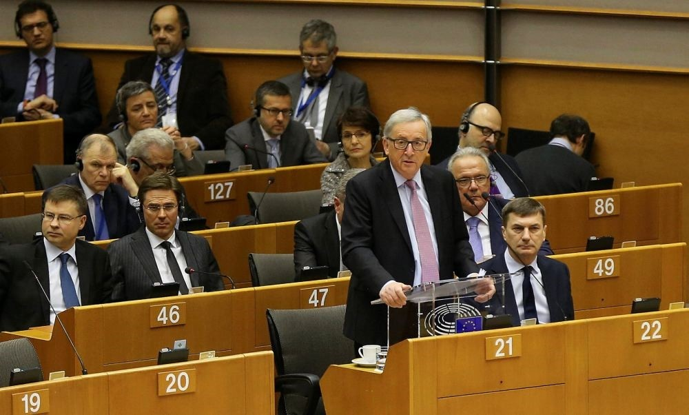 European Commission President Jean-Claude Juncker presents a white paper on options for shoring up unity once Britain launches its withdrawal process, in Brussels, Belgium, March 1.