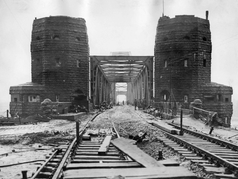 In this file photo taken on March 10, 1945 the railway bridge over the Rhine at Remagen is seen after it was captured intact by the 9th US Armoured Division, 1rst Army by the end of World War II (AFP Photo)