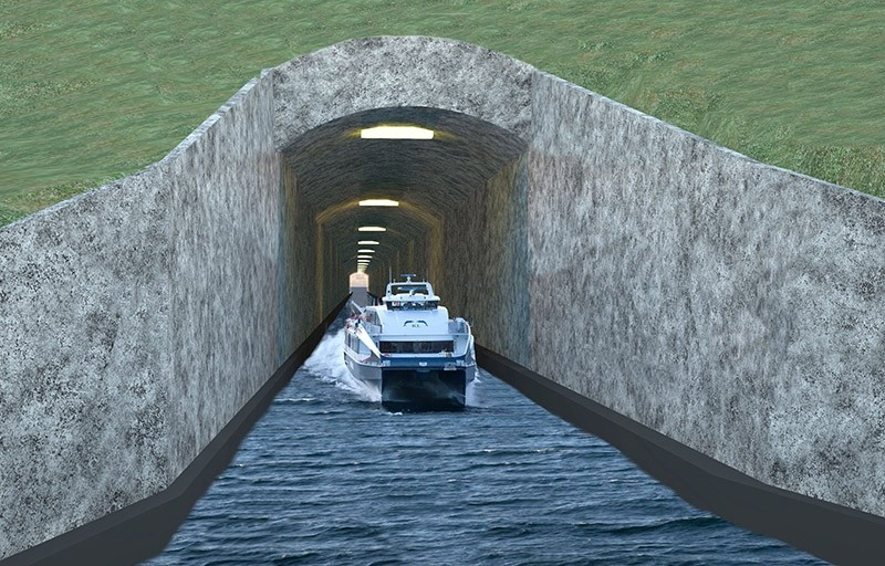 This file photo taken on April 12, 2013 shows a handout computer generated picture released by Nordfjord Vekst showing the so-called Stad Ship Tunnel, the u201cworldu2019s first shipping tunnelu201d being planned on the Stad peninsula in Norway. (AFP Photo)