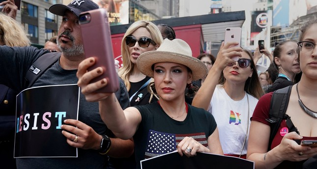 Actress Alyssa Milano attends a protest in Times Square, New York City, New York, U.S., July 26, 2017. (REUTERS Photo)