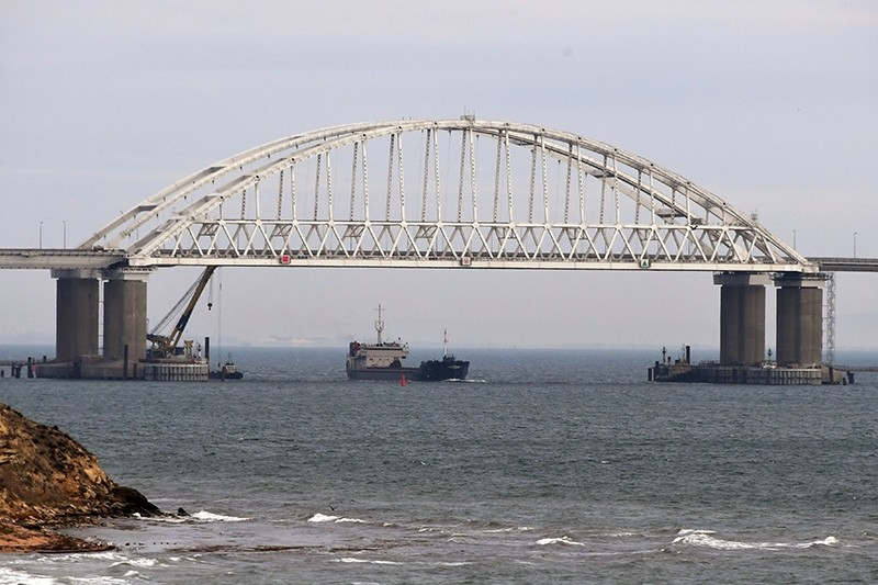 View of a bridge over Kerch Strait, connecting Crimea and Russia, Nov. 26, 2018. (EPA Photo)