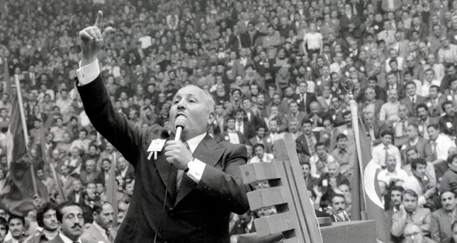An archive photo depicts the late Prime Minister Necmettin Erbakan delivering a speech to his party's supporters in a mass rally.