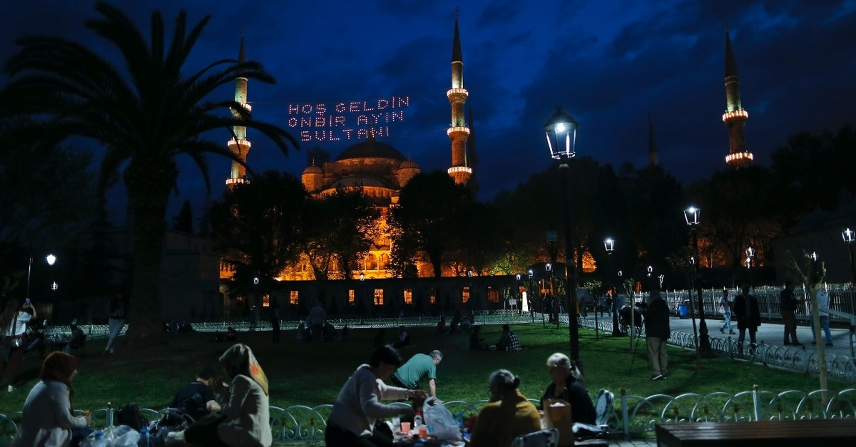 People gather together at Sultanahmet Square, Istanbul after iftar. Home to the Blue Mosque, Hagia Sophia and the Topkapu0131 Palace, Sultanahmet is one of the most frequently visited places during Ramadan.