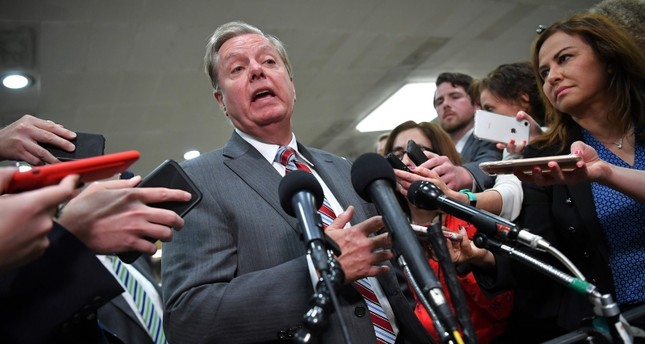 In this file photo taken on May 21, 2019 US Senator from South Carolina Lindsey Graham gives a statement after closed-door briefing on Iran in the auditorium of the Capitol Visitors Center in Washington, DC. (AFP Photo)