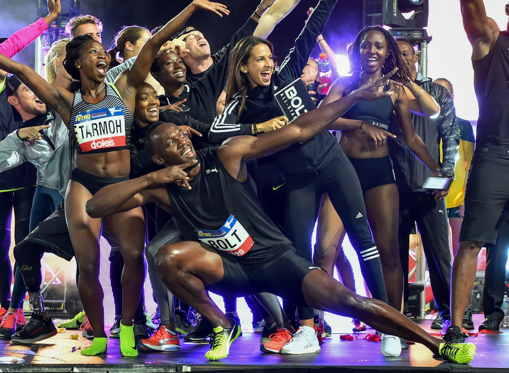 Bolt All Stars celebrate after winning the Nitro Athletics meet in Melbourne on February 11, 2017. (AFP Photo)