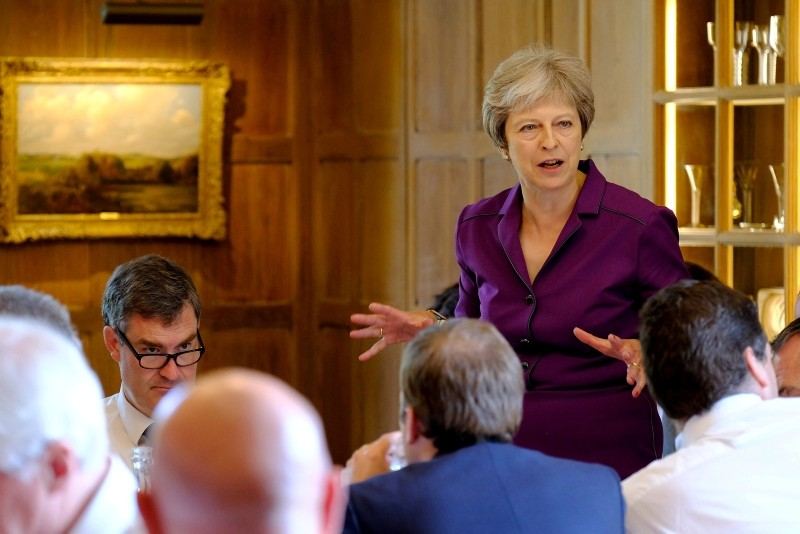 Britain's Prime Minister Theresa May commences a meeting with her cabinet to discuss the government's Brexit plans at Chequers, the Prime Minister's official country residence, near Aylesbury, Britain, July 6, 2018. (Reuters Photo)