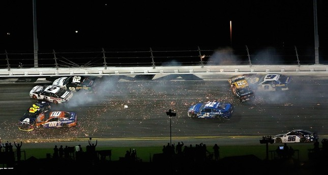 William Byron, driver of the #24 Axalta Chevrolet, crashes during the Monster Energy NASCAR Cup Series 61st Annual Daytona 500 at Daytona International Speedway on Feb. 17, 2019 AFP Photo