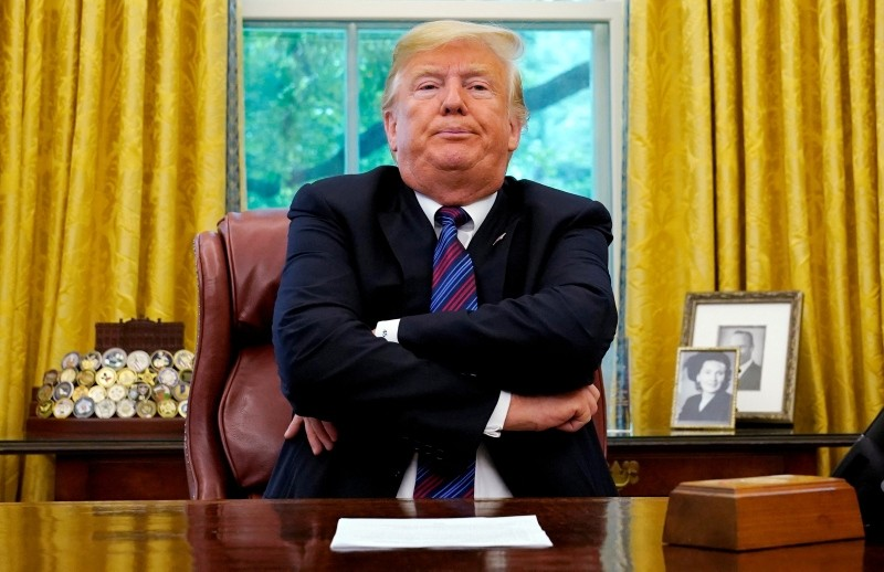 U.S. President Donald Trump sits behind his desk as he announces a bilateral trade agreement with Mexico to replace the NAFTA at the White House in Washington, U.S., August 27, 2018. (Reuters Photo)