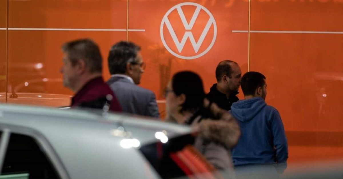 A Volkswagen logo is pictured during the Brussel Motor Show on Jan. 9, 2020, in Brussel. (AFP Photo)