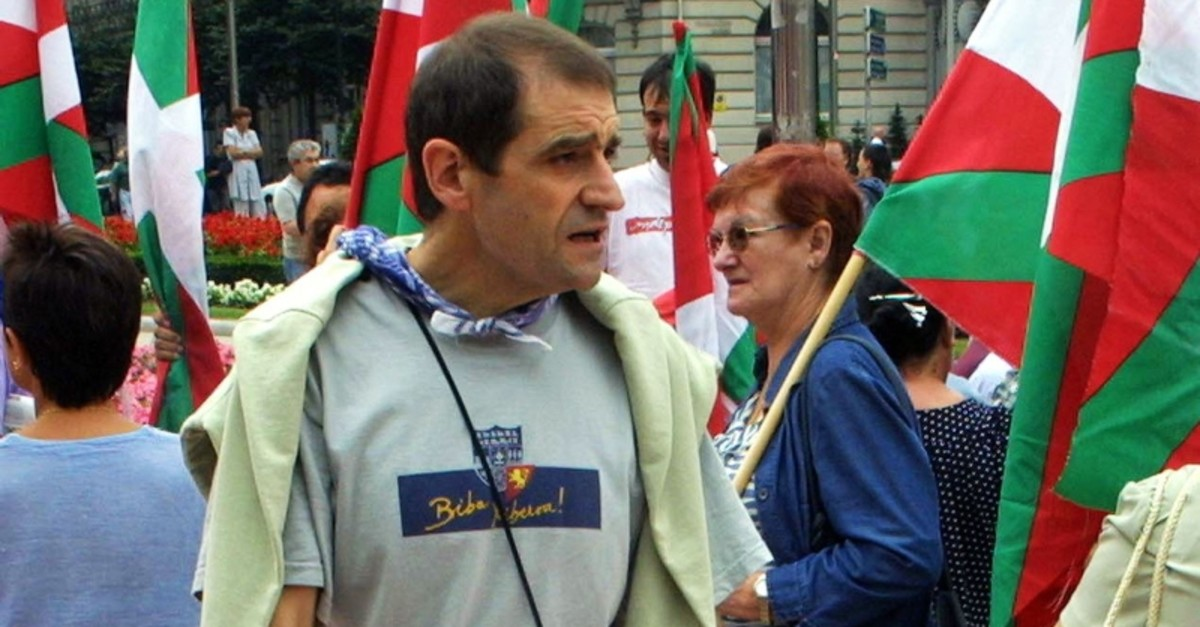 This Aug. 23, 2002, file photo shows longtime ETA leader Jose Antonio Urrutikoetxea, alias ,Josu Ternera,, during a demonstration against the expected illegalization of Batasuna in the Basque city of Bilbao, Spain. (AFP Photo)