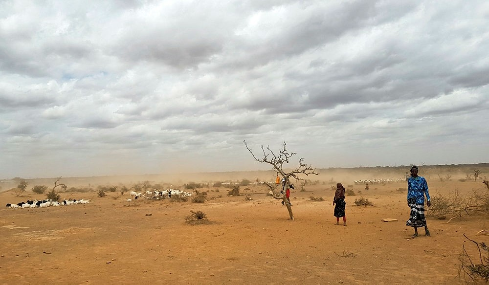 In this photo taken Sunday, Sept. 3, 2017, dust clouds blow across the parched landscape in the Danan district of the Somali region of Ethiopia. (AP Photo)