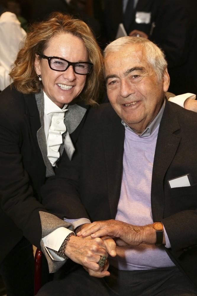 Director, Hammer Museum, Ann Philbin, (L) and Getty Trustee Emeritus, Lloyd Cotsen. (AP Photo)