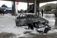Vehicle destroyed after lightning strikes gas station in Turkey's Antalya