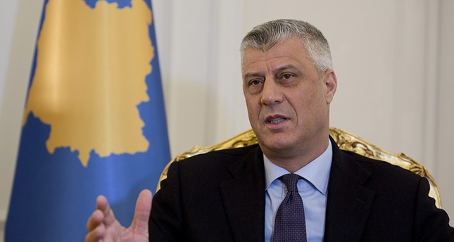 In this Wednesday Feb. 14, 2018 file photo, Kosovo President Hashim Thaci speaks during an interview with The Associated Press on  in Kosovo capital Pristina. (AP Photo)