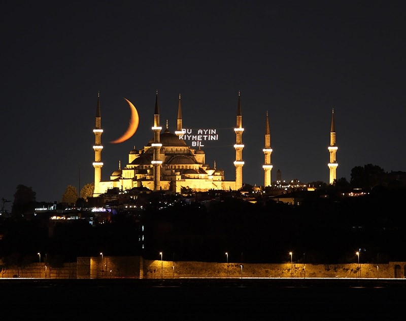 The Sultanahmet mosque and crescent are seen during Ramadan in Istanbul, Turkey. (Getty Images)