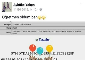 Yalçın celebrated her appointment as teacher in a Facebook post dated Oct. 11, 2016.