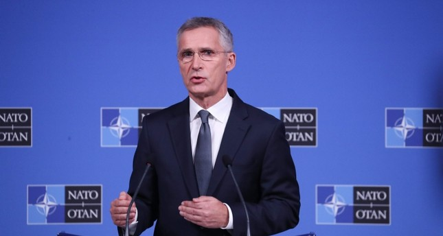 NATO Secretary General Jens Stoltenberg talks to journalists during a press conference prior to NATO defense ministers meeting in Brussels, on Oct. 23, 2019 (AFP Photo)