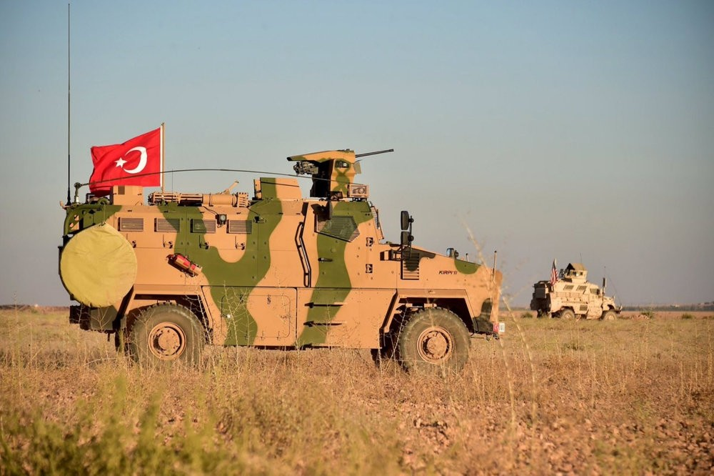 Turkish and U.S. troops pictured together during a joint patrol around Manbij, northern Syria, Nov. 1.