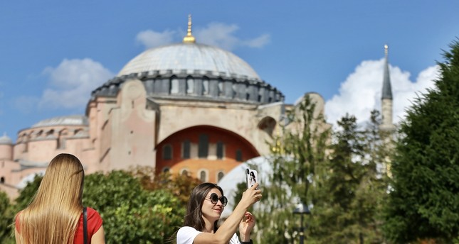 Tourists in Istanbul's historic Fatih district.