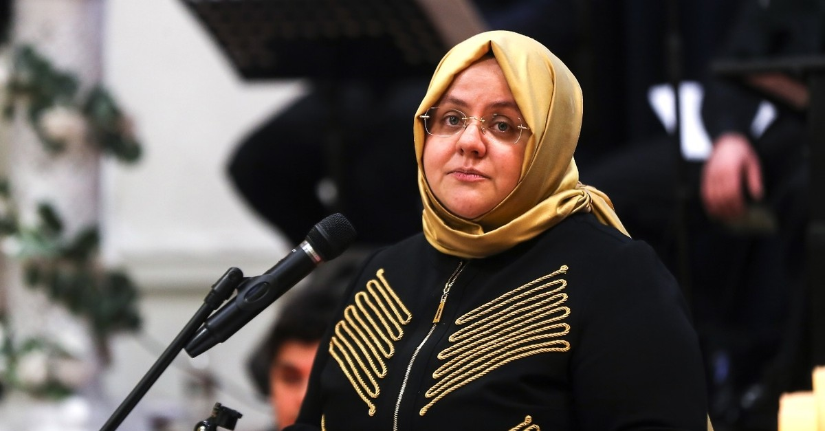 Minister of Labor, Social Services and Family, Zehra Zu00fcmru00fct Selu00e7uk, speaks at a conference in New York, March 13, 2019.