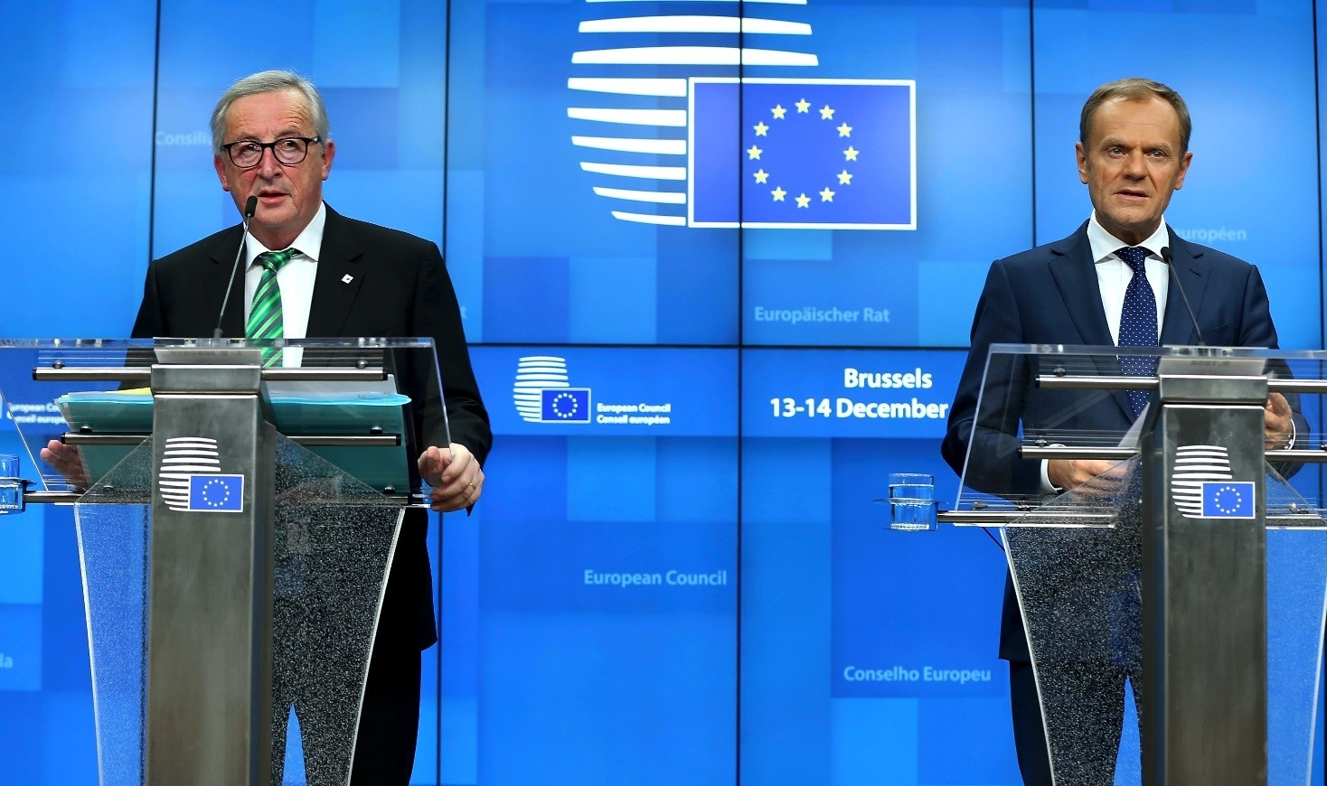 EU Commission President Jean-Claude Juncker (L) and European Council President Donald Tusk (R)