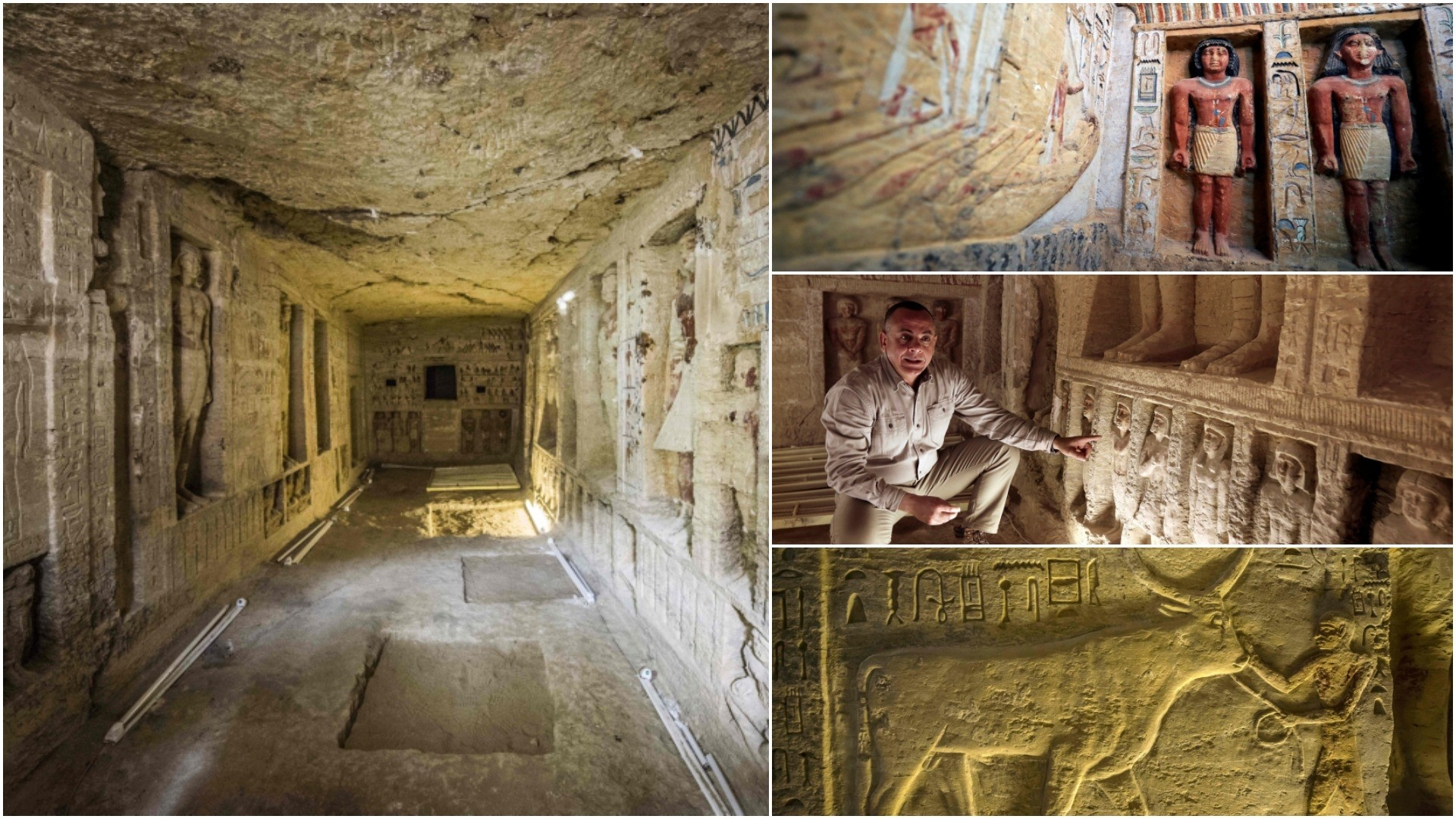 This picture taken on December 15, 2018 shows a general view of a newly-discovered tomb belonging to the high priest ,Wahtye, who served during the fifth dynasty reign of King Neferirkare. (AFP/REUTERS/AP Photos)