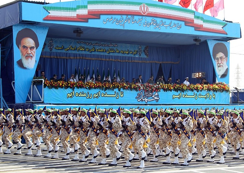 Revolutionary Guards march during an annual military parade which marks Iran's eight-year war with Iraq, in the capital Tehran. (AFP File Photo)