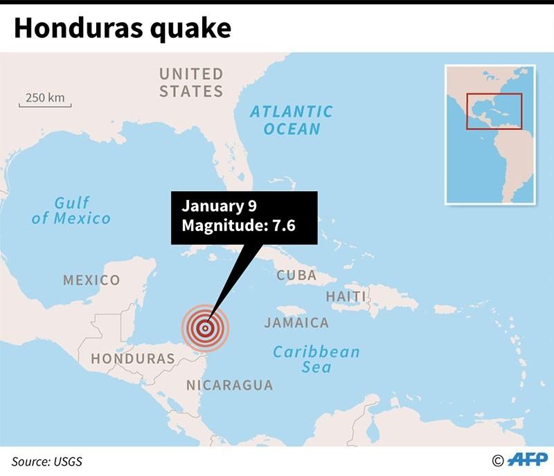 Map locating a 7.6-magnitude quake north of Honduras. (AFP Graphic)