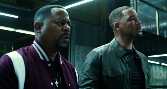 A still from the movie in Bad Boys For Life shows Martin Lawrence L and Will Smith.