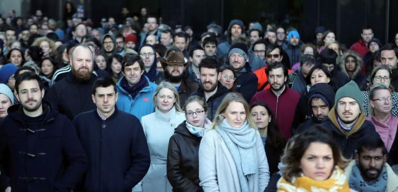 Google employees outside its European headquarters in Dublin, Ireland, Thursday, Nov. 1, 2018. (AP Photo)