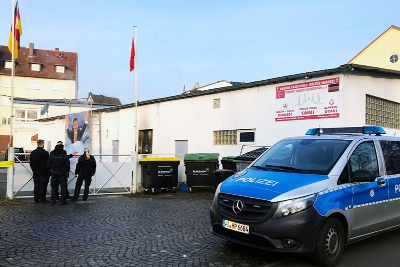 This photo shows the community center which houses the attacked mosque in Germany's Kassel. (AA Photo)
