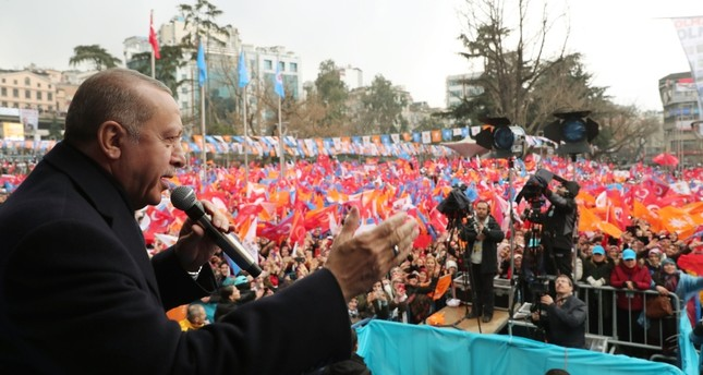 President Recep Tayyip Erdoğan addresses supporters during an election rally in Trabzon, northern Turkey, March 02, 2019. (AA Photo)