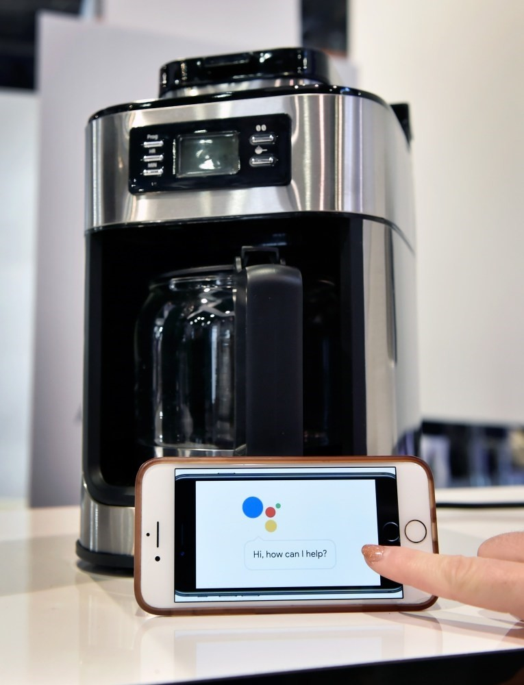 A Gourmia Barista Butler coffee maker on display at CES 2018 at Las Vegas Convention Center. The Wifi enabled appliance is compatible with Google Home and Amazon Alexa.