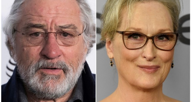 This combination of two file photos shows actors Robert De Niro at New York City's Radio City Music Hall on April 19, 2017 and Meryl Streep in Beverly Hills, Calif. on Jan. 17, 2018. (AP Photo)