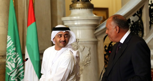 UAE Foreign Minister Abdullah bin Zayed al-Nahyan and Egyptian Foreign Minister Sameh Shoukry attend a press in Cairo, Egypt July 5, 2017. (REUTERS Photo)