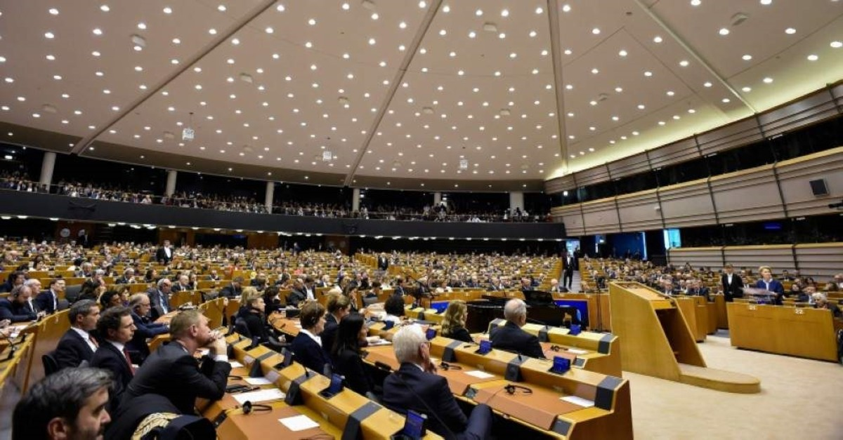 A picture taken on January 29, 2020 shows the European Parliament room during a plenary session in Brussels, as Brexit Day is to be set in stone when the European Parliament casts a vote ratifying the terms of Britain's divorce deal from the EU. (Photo by JOHN THYS / AFP)