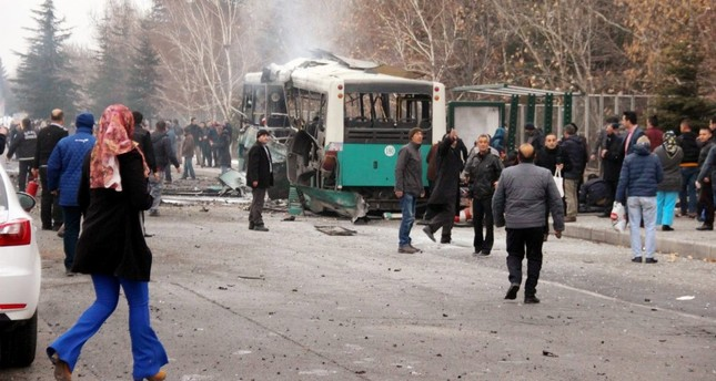 Wreckage of the bus carrying soldiers after a PKK bombing, Dec. 17, 2016.